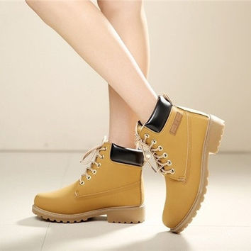 Spring Autumn Women Boots Rub color with vintage shoes casual shoes leather Ying Lun Mading boot new winter fashion Plus cotton [8238491207]