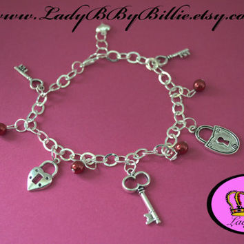 Key To My Heart Handmade Charm Bracelet/Arm Candy By Lady B By Billie