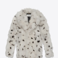 CABAN Coat in Ivory and Black Dotted Fox Fur