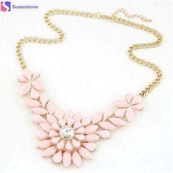 Rhinestone Flower Resin Statement Necklace