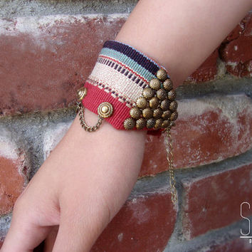 red bracelet studded chains - fabric bracelet, thick bracelet, bohemian jewelry, tribal, american, Christmas gift, studded bow, triangle