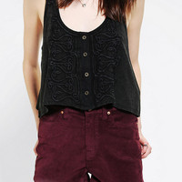 Ecote Acid-Wash Military Cropped Tank Top