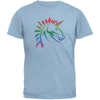 Gay Pride LGBT Rainbow Unicorn Light Blue Adult T-Shirt