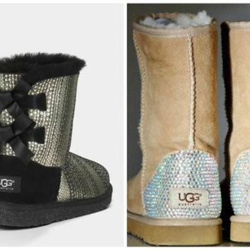 CUPUPS Swarovski Crystal Embellished Holiday Limited Edition Bailey Bow Uggs - Winter / Holid
