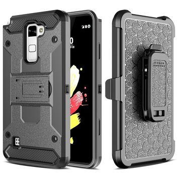 Shockproof 2 in 1 Future Armor Case Full Body Cover Belt Clip Hook Holster Kickstand Phone Guard for G G6/K10/V20/X Style/Stylo