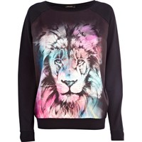 Black lion print satin front dolman top - sweaters / hoodies - t shirts / vests / sweats - women