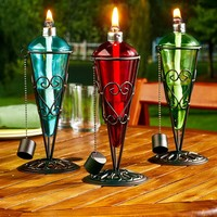 Glass & Metal Tabletop Torch Decorative Colorful Patio Deck Lighting Decor