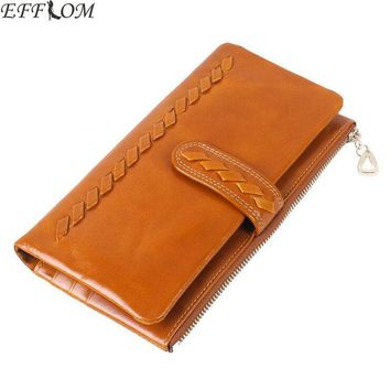 Genuine Leather Women Wallets Long Design Weave Woman Wallet Phone Pocket Purse Vintage Cowhide Female Card Holder Lady Clutch