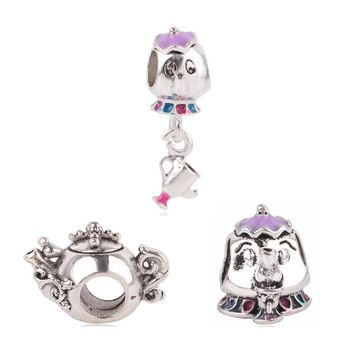 Couqcy F 3pc Silver Color Mickey Teapot Mouse DIY Beads&Jewelry Marking For Pandora Charm Bracelet