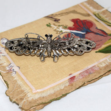 vintage sterling silver butterfly barrette with by ThisArtOfMine