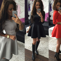 Autumn 3-color Ruffle Three-quarter Sleeve One Piece Dress [4966041284]