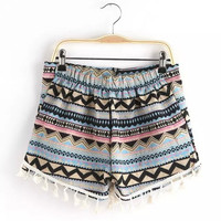 Tribal Print Tassel Shorts