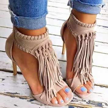 Open Toe Fringe Tassel Sandal High Heel Pump Sandals