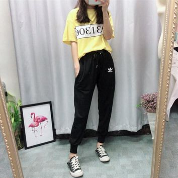"""Adidas"" Women Casual Multicolor Numeral Print Short Sleeve T-shirt  Trousers Set Two-Piece Sportswear"