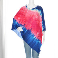 Red/pink White and Blue Tie Dye Poncho / Nursing Cover/ Lightweight Shawl/ One shoulder tunic top / Versatile Boho Top / Gift for her