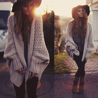 Women Fashion Winter Autumn Lone Sleeve Loose Lrregular Knit Sweater Slim Jacket [9609499471]