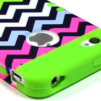 Bastex Heavy Duty Hybrid Case for iPhone 4, 4s, 4th Generation - Green Silicone / Multi Color Chevron Hard Shell