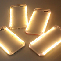 Fashion New Luxury Luminous Phone Cover LED Light Selfie Phone Case for iPhone 5 5se 6 6S 6 Plus 6s plus 4.7'' 5.5'' + gift box