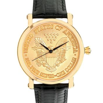 Croton Mens Stainless steel Goldtone Coin Replica Watch