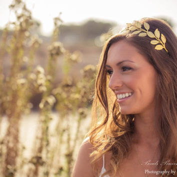 Greek Gold Leaf Headband, Large Grecian Leaf Headband, Gold Leaf Crown, Large Gold Leaf Tiara, Wedding Headband, Gold Brass Leaf Headband