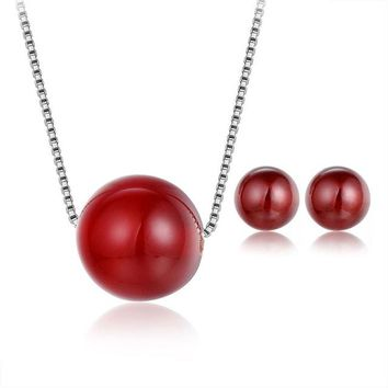 Red Onyx Beads Necklace Stud Earrings for Women
