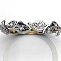 14k two tone yellow and white gold diamond unusual unique floral wedding band LB-2027-7.