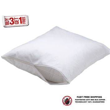 4 HOTEL HYPOALLERGENIC PILLOW CASE ZIPPERED BED BUG PROTECTOR BUY 3 GET 1 FREE