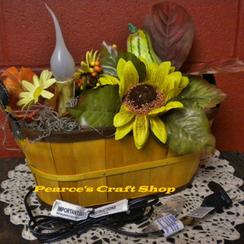 Lighted Fall Basket, Electric Candle Floral Arrangement, Gourds & Flowers,  Autumn Lighted Centerpiece, Thanksgiving Arrangement