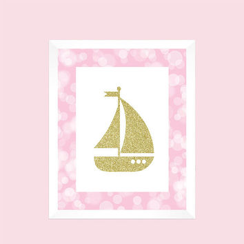 Nautical Gold Glitter Sailboat Pink Print Nursery Decor Baby CUSTOMIZE YOUR COLORS 8x10 Prints Nursery Decor Art Baby Room Decor Kids