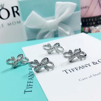 Tiffany & Co Fashion new diamond bow-knot sterling silver earring accessories Silver