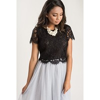 Ellie Black Short Sleeve Lace Top