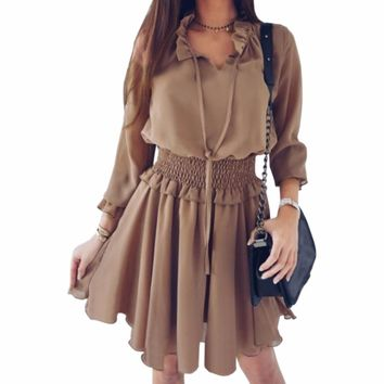 Women Autumn Long Sleeve Dresses Female Plus Size Ruffles A-Line Dress V-Neck Casual Femme Boho Solid Vintage Mini Dress GV549