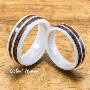 Wedding Band Set of Ceramic Rings with Hawaiian Koa Wood Inlay (6mm & 8mm width )