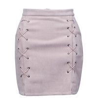 Nude Faux Suede Lace Up Side Pencil Skirt