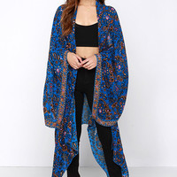 Amuse Society Brooklyn Blue Print Kimono Top
