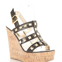 Studded Caged Cork Weges
