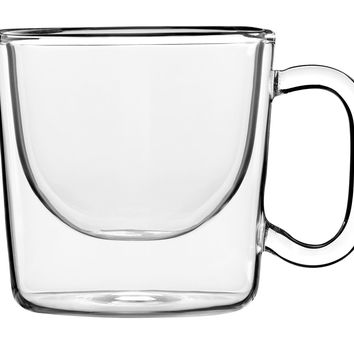 Wide Double-Wall Mugs, Set of 2, Espresso