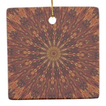 Kaleidoscope Design Dark Brown Floral Pattern Ceramic Ornament