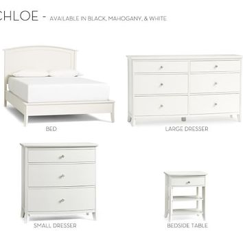 Chloe Bed & Dresser Set - Antique White