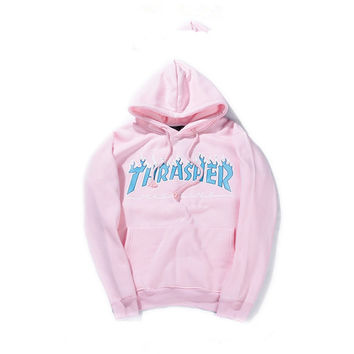 a2291eae0e59 Thrasher Magazine Flame Logo Pink Hoodie from JAKKOUTTHEBXX