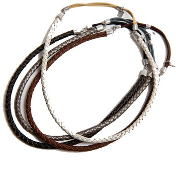 Ficcare Single Braided Leather Headband in Silver B978