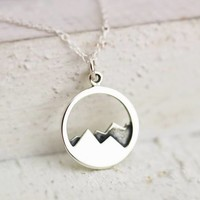 Mountain Range Necklace For Mountain Lovers, Hikers and Skiers