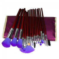 16pcs Professional Cosmetic Makeup Brush Set with Bag Purple - Default