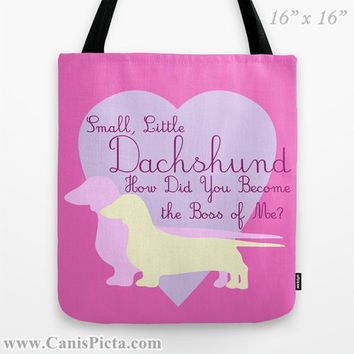 Pastel Dachshund Graphic Print Tote Bag Dog Doxie Pink Lavender Purple Cream Boss Little Pet Small Doxie Back to School Supplies Reusable
