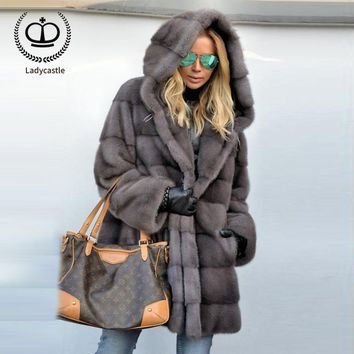 2018 New Real Mink Fur Coat With Hood Women Real Mink Fur Outwear Jacket Women Fur Genuine Long Winter Coat Plus Size MKW-088