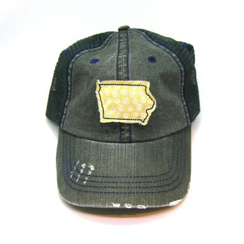 Iowa Trucker Hat - Distressed - Floral Fabric State Cutout