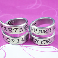 Partners in Crime - Spiral Rings Set, Hand Stamped Aluminum Rings, Best Sisters Ring, Friendship RIngs, BFF Gift, Script Font