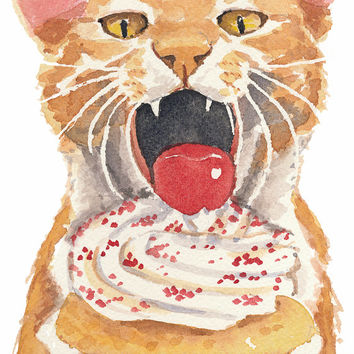 Cat Watercolor Painting PRINT - Open Edition, Cupcake Watercolour, Food Art, 8x10 Print