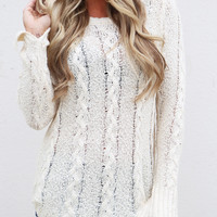 Cable Knit Spring Lightweight Knit {Cream}