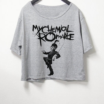 My Chemical Romance , crop top, grey color, women crop shirt, screenprint tshirt, graphic tee